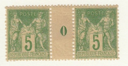 FRANCE-N° 102 SAGE1898-1900 5Cts  VERT JAUNE (II) -PAIRE AVEC MILLESIME (0) /  NEUF  AVEC CHARNIERE     BON CENTRAGE - 1898-1900 Sage (Tipo III)