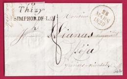 DOUBLE CURSIVE 69 THIZY ST SIMPHOR. DE LAY RHONE 1829 OSEJA PYRENEES ORIENTALES INDICE 20 - 1801-1848: Precursors XIX