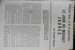 Article Revue Histoire Pour Tous N°40 Août 1963 Le Jour Où Mourut Jean Jaurès - Histoire