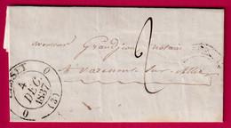 CAD TYPE 12 SPECIAL CUSSET ALLIER 1837 POUR VARENNES SUR ALLIER - 1801-1848: Precursors XIX
