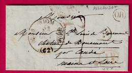 CAD TYPE 11 RIOM PUY DE DOME  OR + DECIME RURAL NOIR ET ROUGE MALAUZAT POUR CANDE MAINE ET LOIRE TYPE 11 1841 - 1801-1848: Precursors XIX