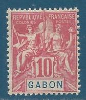 Gabon N°20 Colonies 10c Rouge Neuf Avec Charnière - Unused Stamps