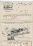 Rue, Somme, 13 Factures Alcool Pour M  Poiret  De 1906 Et 1929.Gratadour-Libouroux,PosteL,Dflor,Boulard,Montcel, Lanéry. - Invoices
