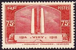 FRANCE 316 ** MNH Monument De Vimy Aux Canadiens Morts Pendant La Grande Guerre 1914-1918 WWI 1936 (CV 35 €) - Nuevos