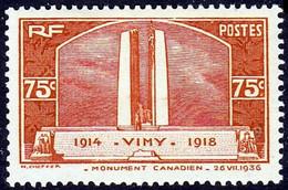FRANCE 316 * MLH Monument De Vimy Aux Canadiens Morts Pendant La Grande Guerre 1914-1918 WWI 1936 (CV 10 €) - Nuevos