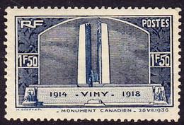 FRANCE 317 ** MNH Monument De Vimy Aux Canadiens Morts Pendant La Grande Guerre 1914-1918 WWI 1936 (CV 38 €) - Nuevos