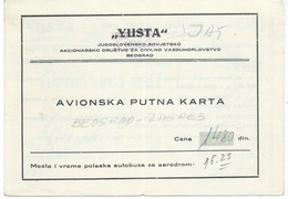 Plane - Yugoslavian / Russian  Airlines YUSTA - Passenger Ticket 1950, RARE Plane Ticket - Europa