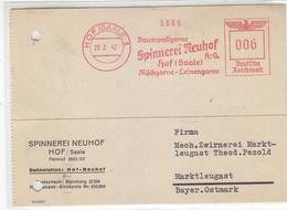 Freistempel Der Spinnerei Neuhof Aus HOF(SAALE) 28.2.42  Nach Marktleugast / Aktenlocheng - Cartas