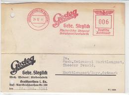 Freistempel Der GESTEG KLEIDUNG Aus GROSSHARTAU (KR.BAUTZEN) 24.12.41  Nach Marktleugast / Aktenlocheng - Cartas