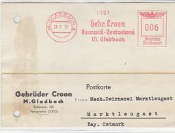 Freistempel Der Gebr. Croon Aus M.GLABACH 28.9.38 Nach Marktleugast / Aktenlochung - Cartas