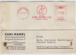 Freistempel Der Hamel AG Aus SIEGMAR-SCHÖNAU 21.5.42 Nach Marktleugast - Cartas