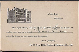 NEW ZEALAND ODLIN TIMBER MERCHANTS ADVERTISING POSTCARD 1920 1.1/2d VICTORY SOLO FRANKING - Covers & Documents