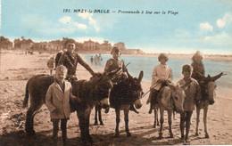 44. CPA - MAZY LA BAULE -  Promenade à Ane Sur La Plage - Enfants - Colorisée - - Autres Communes