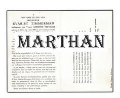 DOODSPRENTJE TIMMERMAN EVARIST WEDUWNAAR VERVAEK ADRIENNE ZULTE BELLEGEM 1889 - 1960 - Devotieprenten
