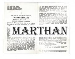 DOODSPRENTJE DEBLANC JEANINE DOCHTER VAN MAURICE EN SNOECK ZULTE WAREGEM 1940 - 1968 ONGEVAL - Devotieprenten