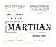 DOODSPRENTJE WANSEELE MAURICE AARSELE 1902 - BLANCKE RACHEL DENTERGEM 1900 ONGEVAL ZULTE 1965 - Devotieprenten