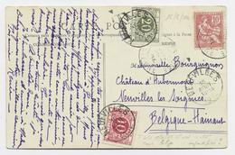 MOUCHON 10C  RETOUCHE SEUL CARTE POUILLY NIEVRE 1904 POUR BELGIQUE TAXE 10C+20C NEUFVILLES TAXE ERREUR - 1900-02 Mouchon
