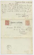 MOUCHON 10C RETOUCHE +15C CARTE LETTRE 3 VOLETS BAGNERES DE LUCHON 18.8.1903 POUR BELGIQUE PEU COMMUN - 1900-02 Mouchon