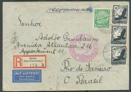 N°444 + PA51(3) Obl. Dc BERLIN Sur Lettre Recommandée Et Par Avion Du 6/04/1937 + Dc Rouge DEUTSCHE LUFTPOST EUROPA-SÜDA - Airmail