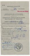 FRANCE - Certificat D'Immatriculation Provisoire De Véhicule - 20F00 Imprimé - Fiscaux