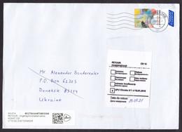 Netherlands: Cover To Donetsk Ukraine, 2021, 1 Stamp, Returned, Retour Label, Service Suspended, War (minor Damage) - Lettres & Documents