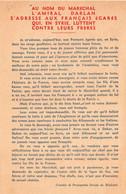 TRACT 39/45 . AU NOM DU MARECHAL . AMIRAL DARLAN POUR FRANCAIS EGARES DE SYRIE - Documents Historiques