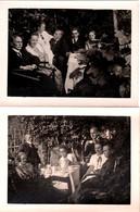 2 Photos Originales Garden Party & Tea Time Au Jardin Pour Une Famille Soudée En 1924 - Service En Porcelaine - Personnes Anonymes