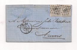 Belgique COB 17  Sur Lettre De GAND Vers ANVERS - 1865-1866 Profile Left