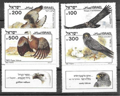 Israel Set 1985 Mnh ** With Tabs 9 Euros Vulture Vautour Birds Of Prey Eagle Aigle Falcon Faucon - Ungebraucht (mit Tabs)