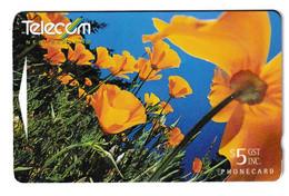 New Zealand California Poppies 2 Phonecards Used B210915 - Fiori