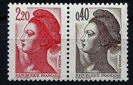 """FR YT 2376b Paire """" Liberté  2.20F Et 0.40F """" 1985 Neuf** - 1982-90 Liberté De Gandon"""