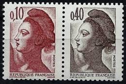 """FR YT 2179a Paire """" Liberté 0.10F Et 0.40F """" 1985 Neuf** - 1982-90 Liberté De Gandon"""