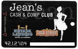 Nevada Landing & Gold Strike Casinos, U.S.A., Older Used Slot Or Player's Card, # Goldstrike-5  Jean's Cash & Comp Club - Casinokarten