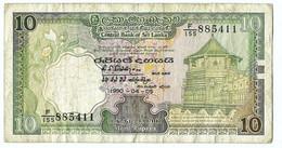 Sri Lanka EEN 10 RUPEE BILJET UIT 1990 GEBRUIKT (3198) - Sri Lanka
