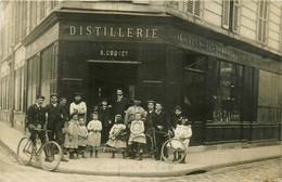 Courbevoie * Carte Photo * Devanture Façade Distillerie A. COQUET * Rue De Paris * Marchand De Vins Alcool Liqueurs - Courbevoie
