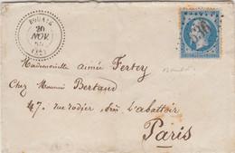LETTRE SIGNEE BAUDOT.  20 NOV 65. N° 22. PERLÉ T22. BOUAYE. LOIRE INFERIEURE. GC 536. POUR PARIS - 1849-1876: Periodo Clásico