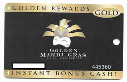 Golden Mardi Gras Casino, Black Hawk, CO, U.S.A.,  Older Used Slot Or Players Card, # Goldenmardigras-2 - Casinokarten