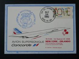 Carte Vol Special Flight Flight Concorde New York Orlando Disney 1982 Air France Ref 98403 - Concorde
