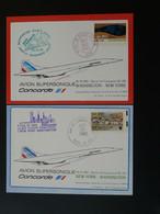 2 Cartes Dernier Vol Concorde Last Flight Washington New York 1982 Air France Ref 98405 - Concorde