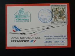 Carte Dernier Vol Concorde Last Flight Mexico New York 1982 Air France Ref 98407 - Concorde