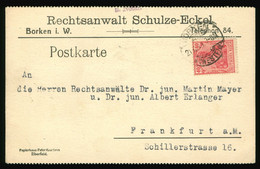 Karte Postkarte 1921 Rechtsanwalt Schulze-Eckel Borken I. W. Nach FFM RAE Mayer Erlanger, EF Mi Nr. 145 - Brieven En Documenten