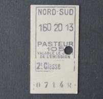 Ancien Ticket Paris PASTEUR 2ème Classe Metropolitain Railway Tickets 3 - Europa