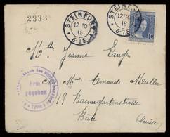 TREASURE HUNT [03040] Luxemburg 1918 Cover From Steinfort To Basel, Switzerland Bearing 25c Single Franking - Brieven En Documenten