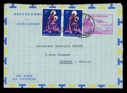 TREASURE HUNT [03118] Belgian Congo 1960s Aerogramme Sent From Kikwit To Geneva, Switzerland, Bearing 1f Pair +4f - Airmail: Used