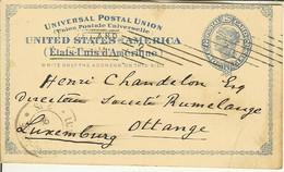 Carte Postale UNITED STATES Of AMERICA TWO Cents De Cleveland Pour Ottange ( Luxembourg ) 1898 - ...-1900