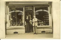Carte Postale Photo D'un Magasin MAISON De CONFIANCE E. VAN HERCK - LONGREE Réparations - Accord ( Musique ) - Winkels