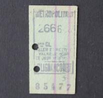Ancien Ticket Paris CLIGNANCOURT Metropolitain Railway Tickets 3 - Europa