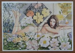 Milo Manara Sexy Female In The Flowers Puzzle Set Of 4 Carte Postale - Comics