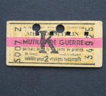 Ancien Ticket Paris 1945 WW2 Mutilés De Guerre Metropolitain Railway Tickets 3 - Europa