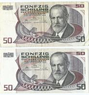 Oostenrijk  2  Biljetten  Van 50 Schilling Uit 1965 Gebruikt (3212) - Austria